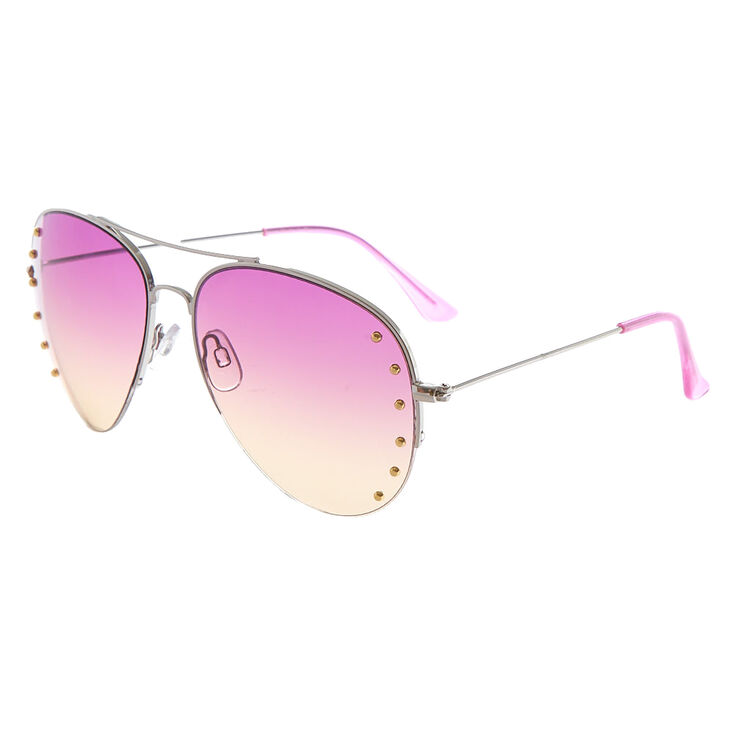 Ombre Studded Aviator Sunglasses - Purple,