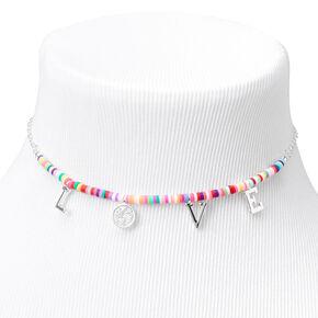 Silver Love Rainbow Disc Choker Necklace,