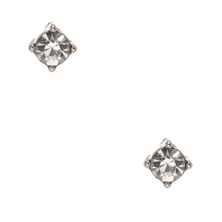 Silver Tone Framed Clear Faux Crystal Stud Earrings,