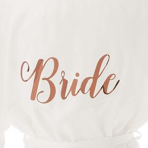 White & Rose Gold Foil Satin Bride Robe - L/XL,