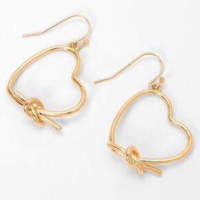 """Gold 1.5"""" Twist Tie Heart Drop Earrings,"""