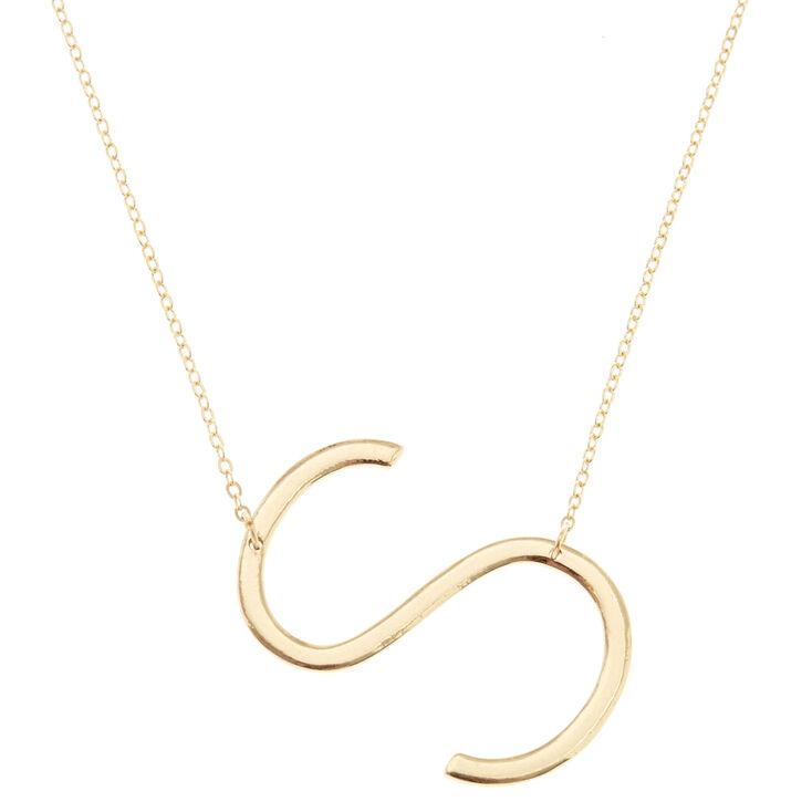 "XL ""S"" Initial Pendant Necklace,"