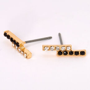 Gold Embellished Line Stud Earrings,