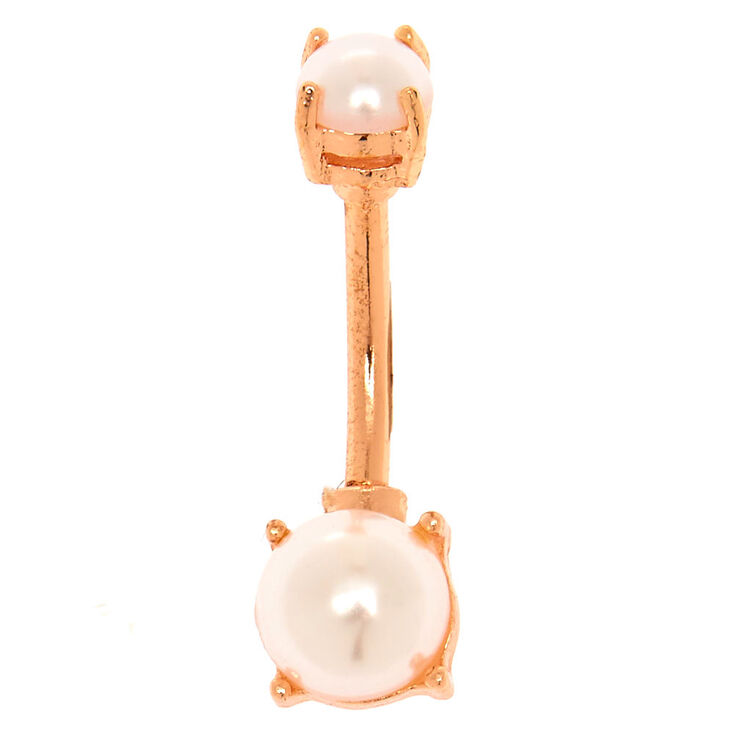 Rose Gold Tone Pearl Belly Ring,