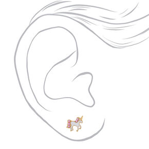 18kt Gold Plated Unicorn Stud Earrings - White,