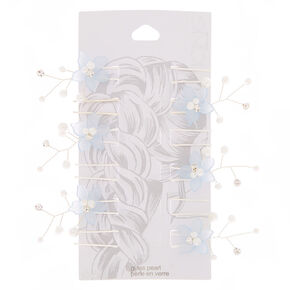 Frosted Flower Hair Spinners - Blue, 6 Pack,