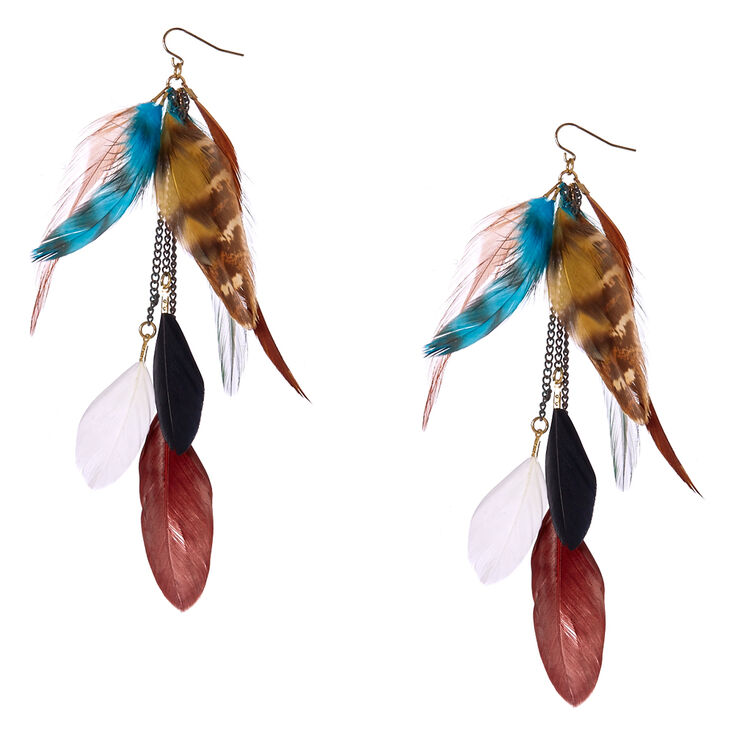 Brown & Blue Wild  Feather Drop Earrings,