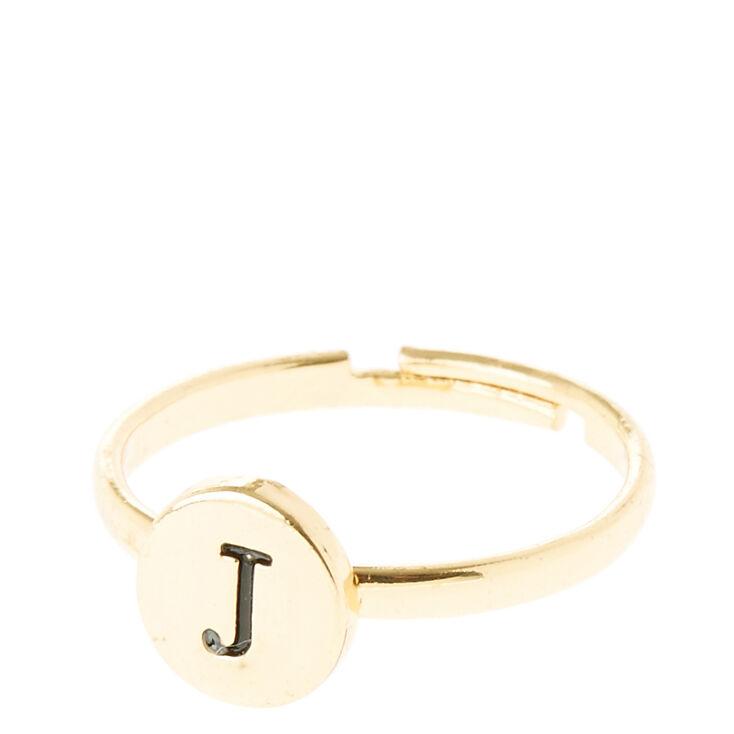 "Gold Circle ""J"" Initial Ring,"