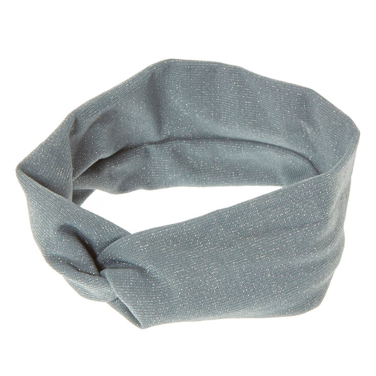 Wide Jersey Lurex Grey Headwrap,