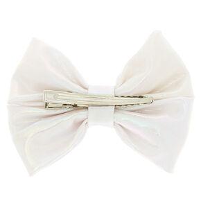 Mini Iridescent Hair Bow Clip - White,