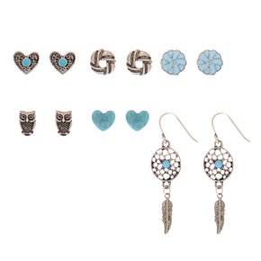 Silver Stud Earrings - Turquoise, 6 Pack,