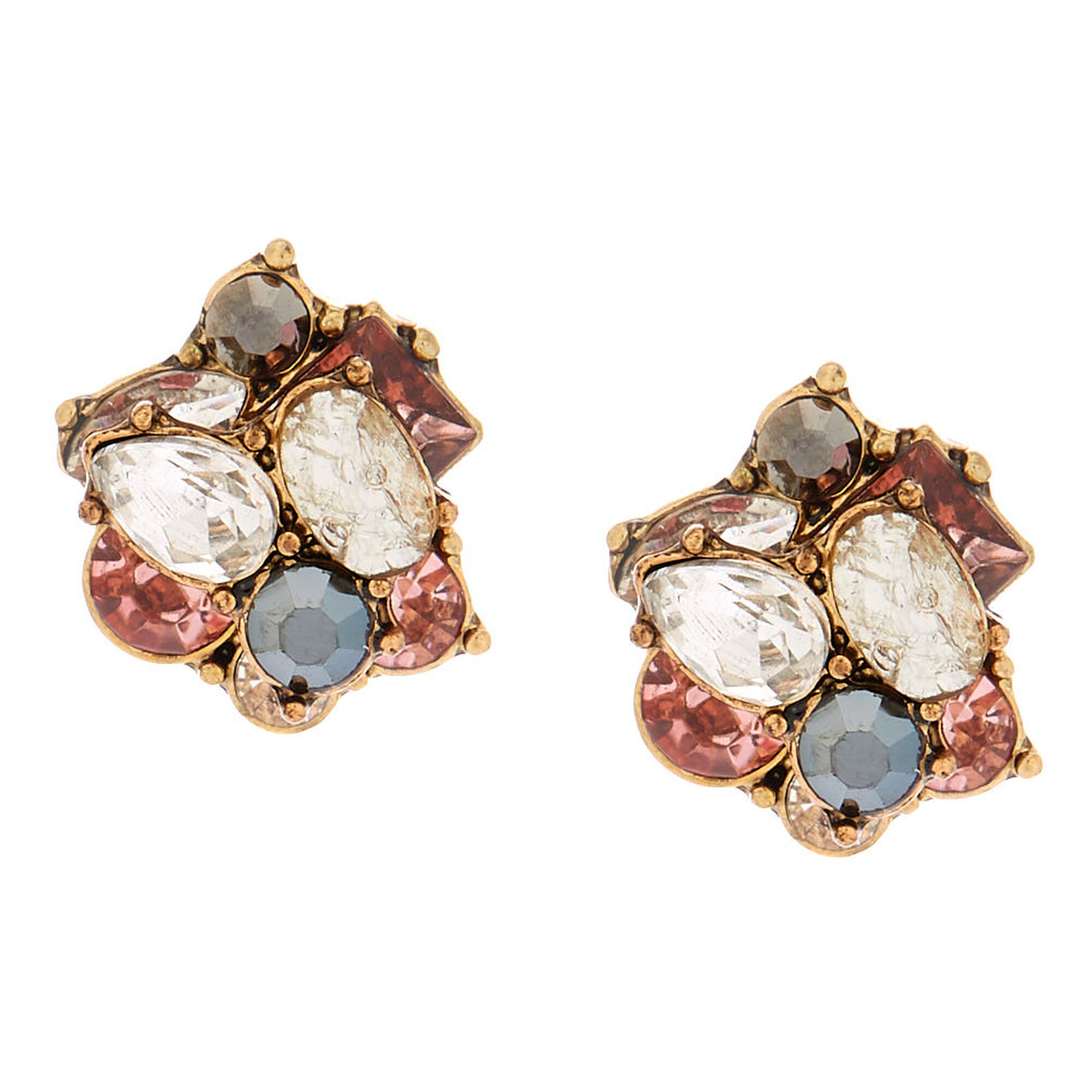 Antique Gold Embellished Stud Earrings Pink
