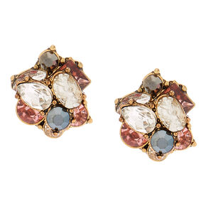 Antique Gold Embellished Stud Earrings - Pink,