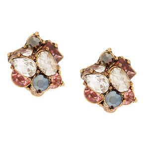 Antique Gold Embellished Stud Earrings Pink