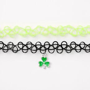 Shamrock Choker Necklaces - Green, 2 Pack,