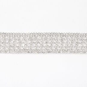 Silver Rhinestone Alligator Choker Necklace,