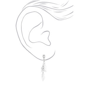 "Silver 1.5"" Leaf Clip On Drop Earrings,"