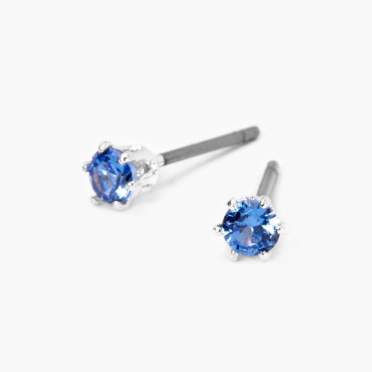 Silver Cubic Zirconia Round Stud Earrings - Blue, 3MM,