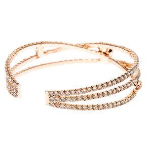 Rose Gold Rhinestone Criss Cross Cuff Bracelet,