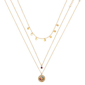 Gold Rainbow Charm Pendant Necklace - 3 Pack,