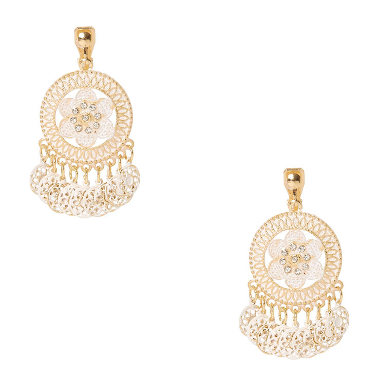 Gold Tone & Ivory Medallion Clip-on Drop Earrings,