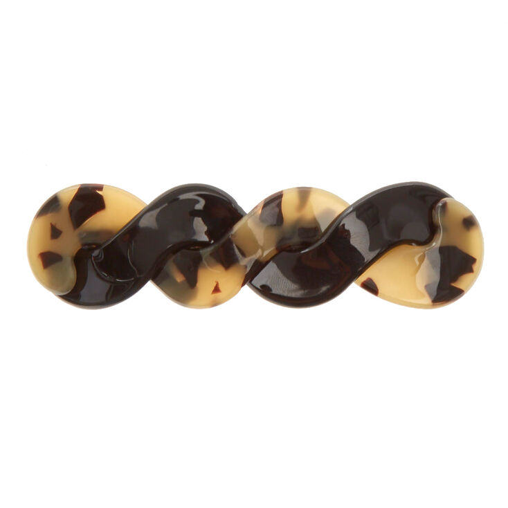 Twisted Tortoiseshell Hair Barrette - Black,