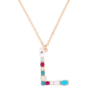Embellished Long Initial Pendant Necklace - L,