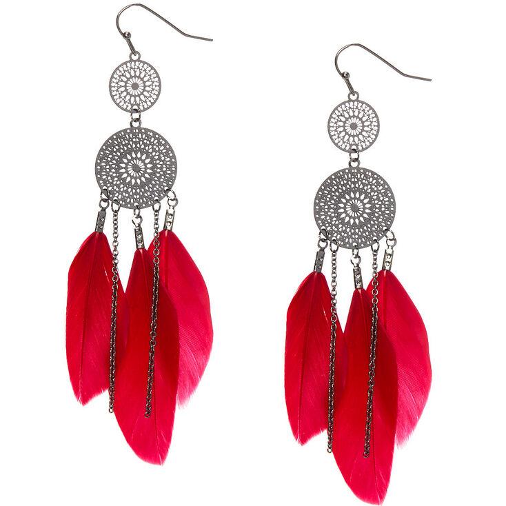 "Hematite 3.5"" Filigree Feather Drop Earrings - Red,"