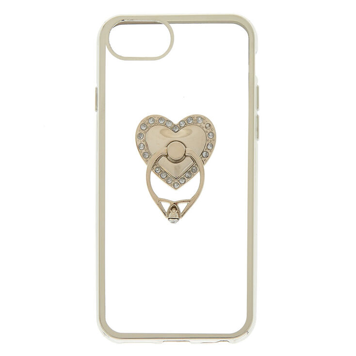 Heart Ring Stand Phone Case Silver Icing Us