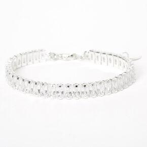 Silver Cubic Zirconia Emerald-Cut Chain Bracelet,