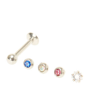 16G Red, White, & Blue Crystal Lip Rings,
