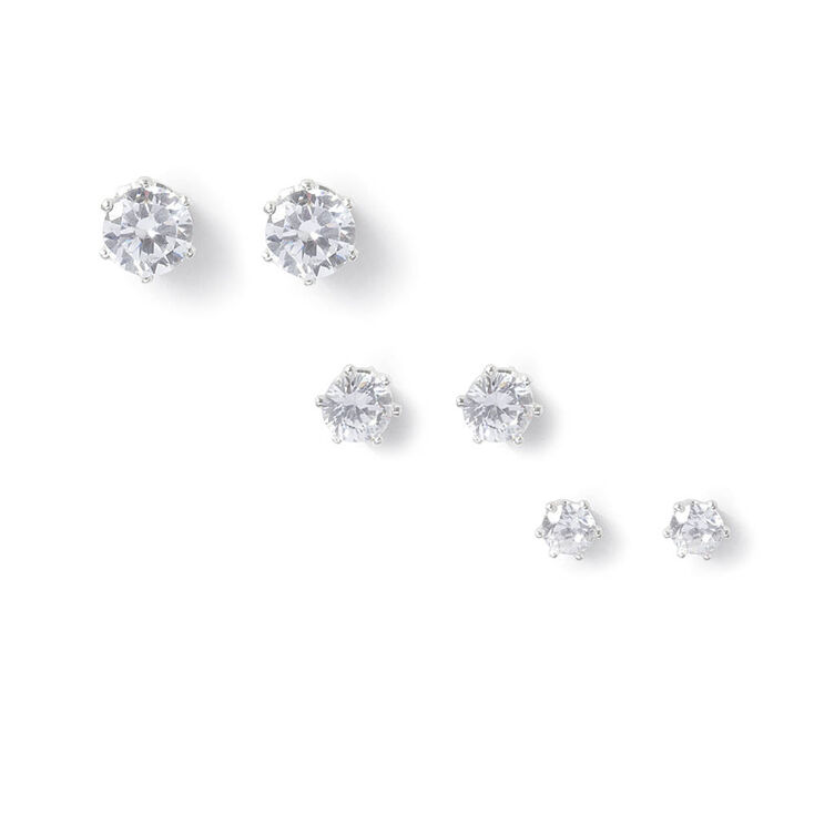 Round Cubic Zirconia Six Prong Set Stud Earrings  - 3 Pack,