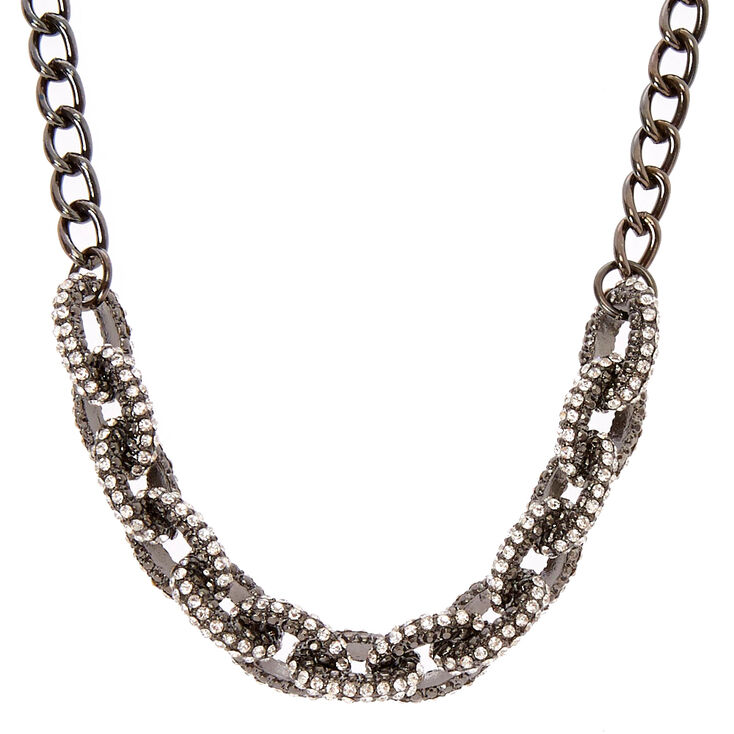 Black Chain Link Necklace with Simulated Rhinestones,