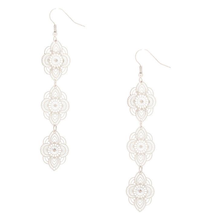 """Silver 3"""" Filigree Drop Earrings,"""