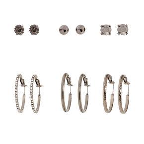 Bold Black Hoop & Stud Earrings,