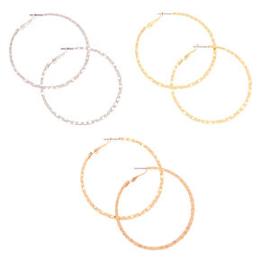 Mixed Metal Hammered Hoop Earrings - 3 Pack,