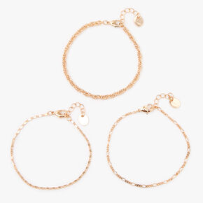 Gold Chain Bracelets - 3 Pack,