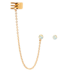 Gold Ear Connector Earrings,