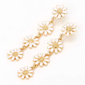 "Gold 2"" Daisy Flower Linear Drop Earrings - White,"