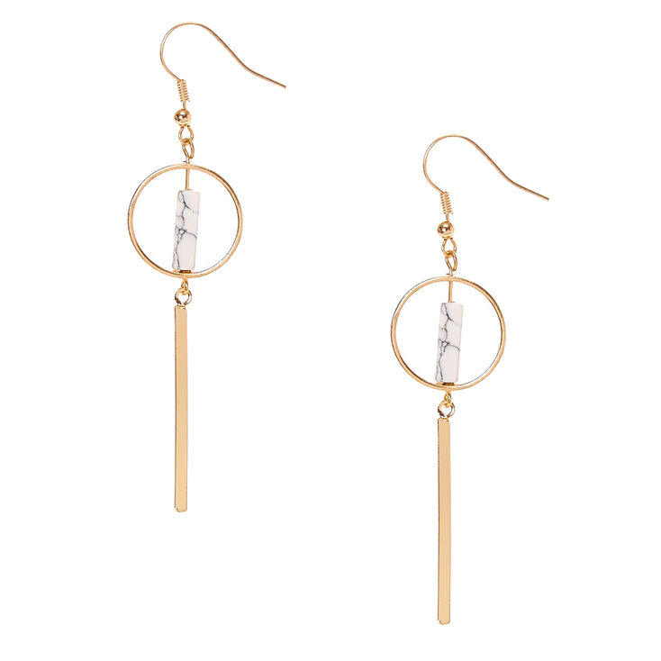 Gold Tone & White Marbled Stone Geometric Bar Drop Earrings,