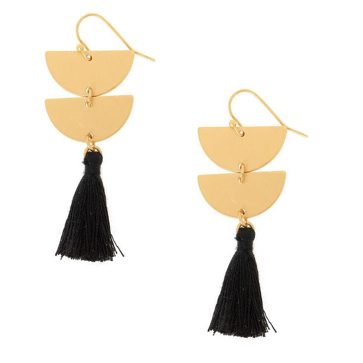 Geometric Black Tassel Drop Earrings,