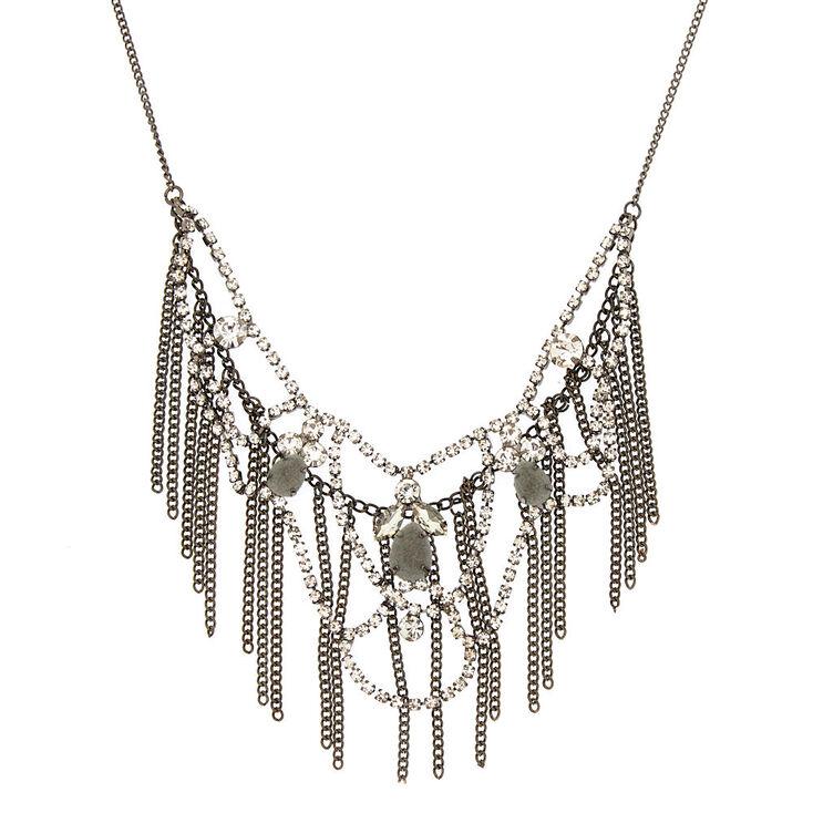 Hematite Velvet Fringe Statement Necklace,