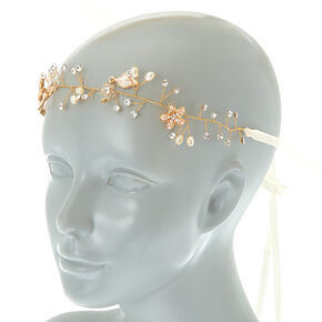 2-In-1 Floral Belt & Headwrap - Gold,
