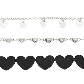Silver Heart Choker Necklaces - Black, 3 Pack,