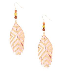 "4"" Feather Bead Drop Earrings - Brown,"