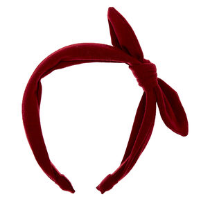 Solid Knotted Bow Headband - Burgundy,