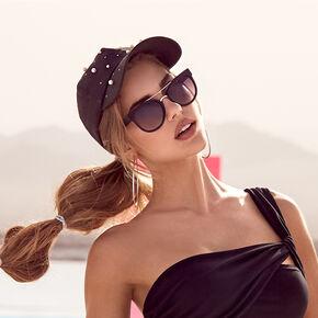 Gold Browline Round Mod Sunglasses - Black,