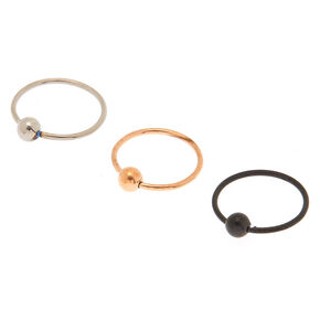 Mixed Metal 20G Beaded Hoop Nose Rings  - 3 Pack,