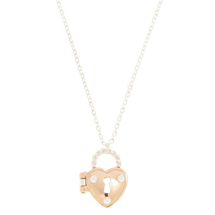 Heart Padlock Locket Pendant Necklace,