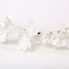 Mini Flower & Leaf Headwrap - White,